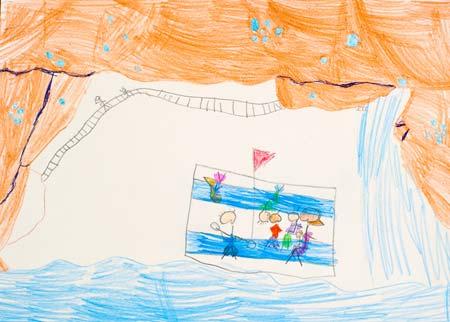 Desenho da Pikitim sobre a visita à gruta das glow worms, em Te Anau