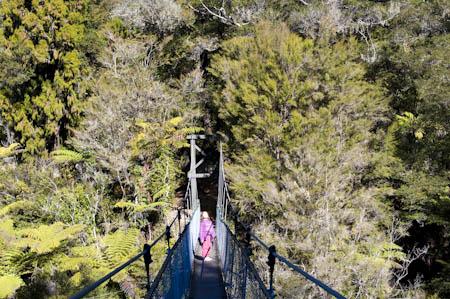 Ponte suspensa no Abel Tasman Coast Track