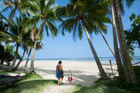 A magnífica praia em frente ao The Beach House, na Coral Coast