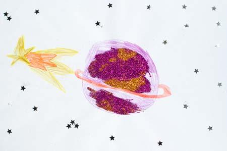 Desenho (com colagem) que a Pikitim fez sobre Saturno, após ver o planeta pelo telescópio no Observatório do Monte John