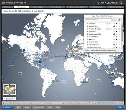 Reserva de bilhetes Volta ao Mundo, na Star Alliance